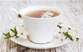 Tea, white flowers, cup, plate