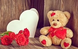 Preview wallpaper Teddy bear, red roses, love heart