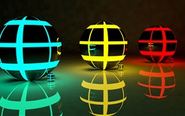 Three 3D balls, abstract, colors