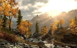 Árvores, montanhas, pedras, raios de sol, outono