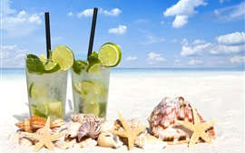 Preview wallpaper Two glass cups of mojito, drinks, seashell, seastar, beach