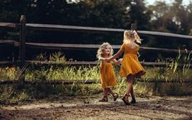 Duas meninas, dança feliz, grama, cerca, verão