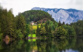 Preview wallpaper Tyrol, Austria, mountains, trees, river, houses