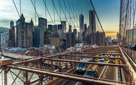 Preview wallpaper USA, Brooklyn Bridge, Manhattan, cars, city