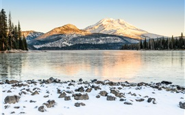 USA, mountains, lake, snow, trees, winter
