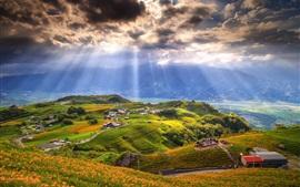 Vale, aldeia, casas, estrada, nuvens, raios de sol