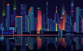 Preview wallpaper Vector design, city, skyscrapers, night