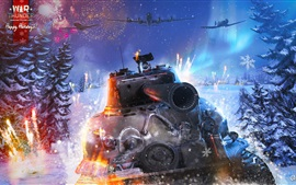 Preview wallpaper War Thunder, tank, fighter, winter, snow