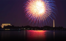 Washington, Potomac, fireworks, river, night, USA