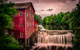 Preview wallpaper Water mill, waterfall, trees, house, Wisconsin, USA