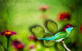 Preview wallpaper Watercolor painting, bird, green leaves