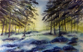 Preview wallpaper Watercolor painting, forest, trees