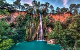 Cachoeira, lago, árvores, belas paisagens
