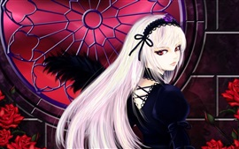Preview wallpaper White hair anime girl look back, red roses