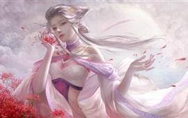 Garota de fantasia de cabelo branco, flores
