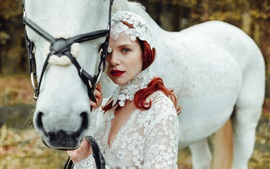 White horse, bride, girl