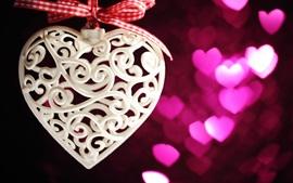 Decoração de coração de amor branco, romântico