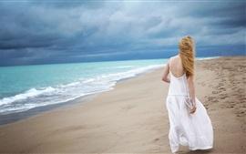 Preview wallpaper White skirt blonde girl back view, beach, sea