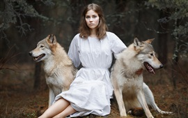 Preview wallpaper White skirt girl and two dogs