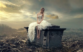 Preview wallpaper White skirt girl, loneliness, headstone