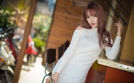 Preview wallpaper White sweater girl, Asian