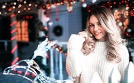 White sweater girl, smile