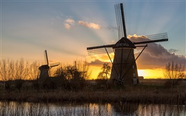 Windmill, river, grass, sunset