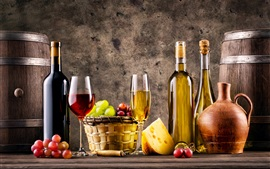 Wine, glass bottles, grapes, barrel