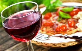 Preview wallpaper Wine, glass cup, fork, pizza
