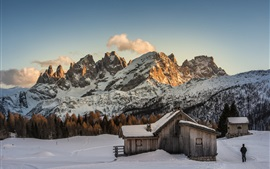 Winter, snow, mountains, wood hut