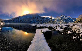 Winter, snow, river, fog, sunrise