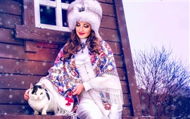 Preview wallpaper Woman and cat, winter