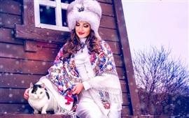 壁紙のプレビュー 女性と猫、冬
