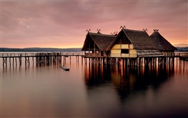 Wooden house, pier, sea, dusk