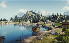 Preview wallpaper World of Tanks, serene coast, houses, mountains, trees