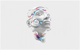 Preview wallpaper 3D rendering, face, head, abstract