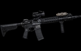 Preview wallpaper AR-15 semi-automatic rifle, weapons, black background
