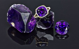 Amethyst, gems, ring, shine