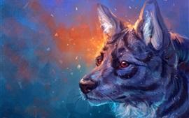 Pintura de arte, lobo, cabeça, rosto, olhos