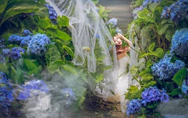 Asian girl, bride, blue hydrangea