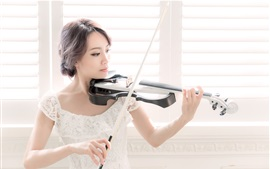 Preview wallpaper Asian girl play violin, window side, white skirt