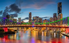 Australia, QLD, Brisbane River, rascacielos, Story Bridge, luces