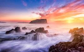 Australia, mar, playa, piedras, puesta del sol, cielo rojo, nubes