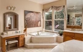 Cuarto de baño, ventana, espejo