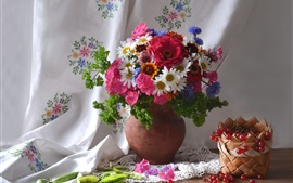 Preview wallpaper Beautiful flowers, cornflowers, daisy, zinnia, red currants, peas