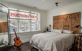 Dormitorio, cama, guitarra, ventana