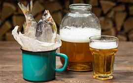 Preview wallpaper Beer, fish, cup
