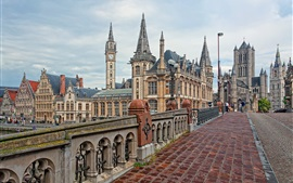 Belgium, Ghent, bridge, street, buildings
