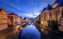 Belgium, Ghent, river, evening, dusk