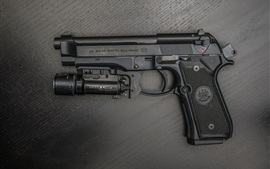 Preview wallpaper Beretta gun, flashlight, weapon